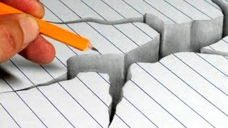 How to Draw a Cracked Hole in Line Paper - 3D Trick Art