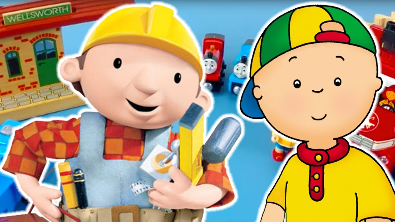 TOY PLAY - Caillou, Bob The Builder And Thomas Make A Kids Train Track | Toy Store - Toys For Kids!