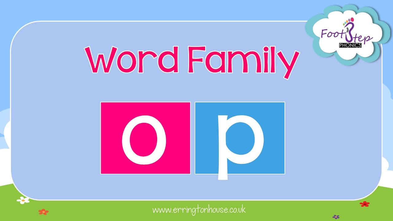 Footstep Phonics Op Word Family Word Families Phonics Words Phonics