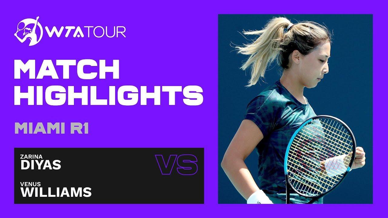 Zarina Diyas vs. Venus Williams | 2021 Miami Open Round 1 | WTA Match Highlights