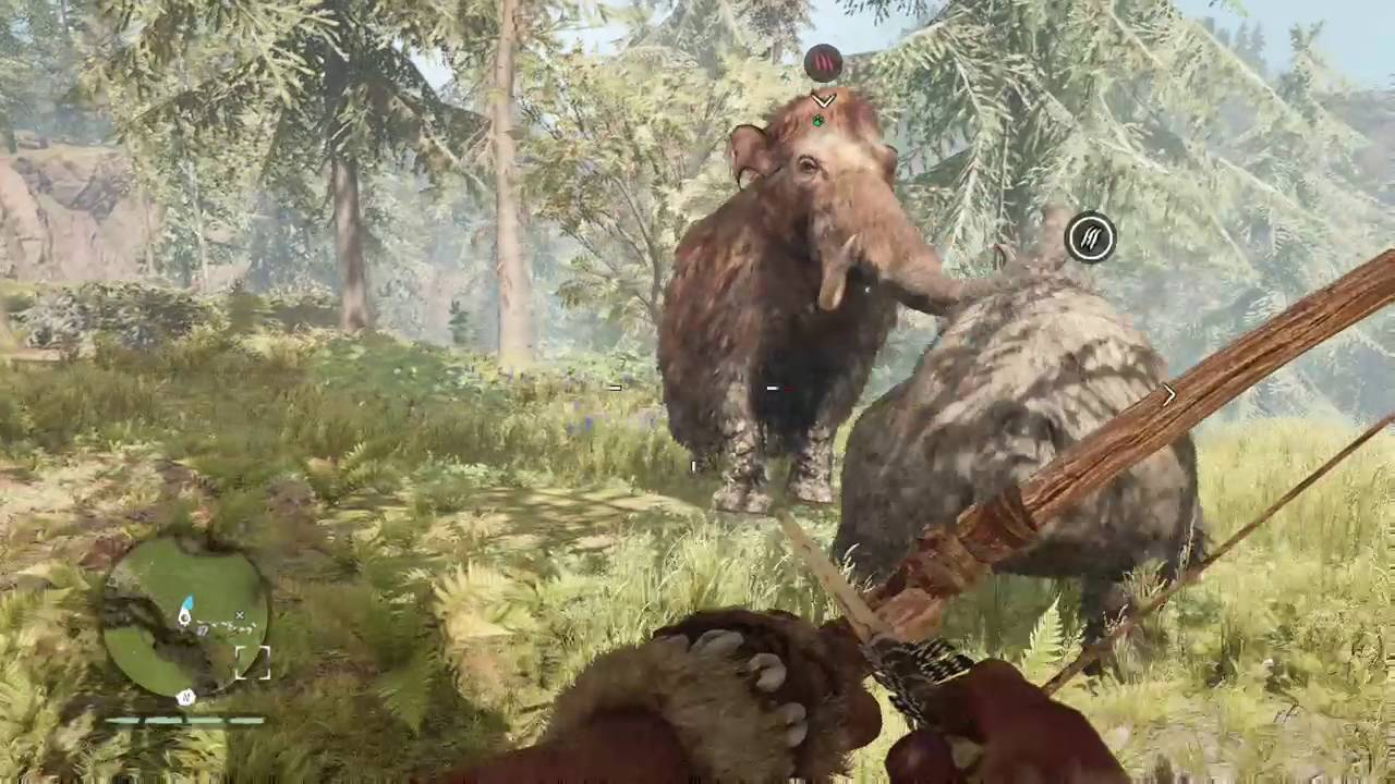 Far Cry Primal Cave Bear Vs Young Woolly Mammoth Youtube