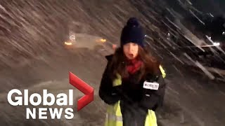 News blooper: TV reporter hit with snow as plow passes