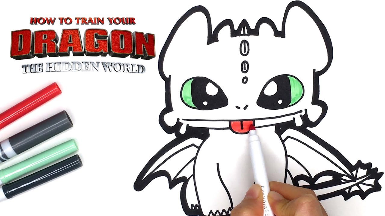Toothless Baby Dragon Drawing Coloring Tutorial For Kids Movie How To Train Your Dragon Character Youtube