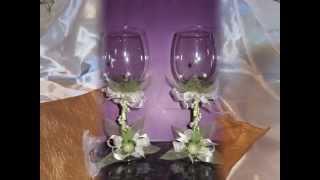 Украшение свадебных бокалов. Свадебные аксесуары
