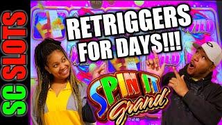 I Dared Sam to Hit the Bonus and THIS Happened! SPIN IT GRAND Slot Retrigger Free Games BIG WIN!!!