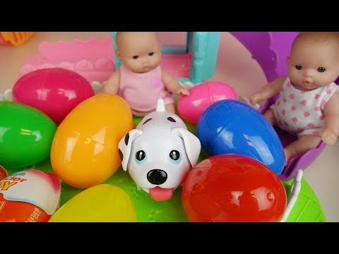 Thumbnail: Baby doll surprise eggs and pet dog slide park toys play