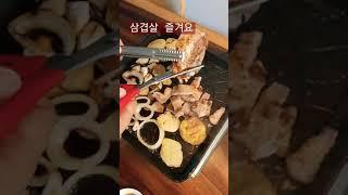 돼지고기 삼겹살#Korea food #pork#soju…
