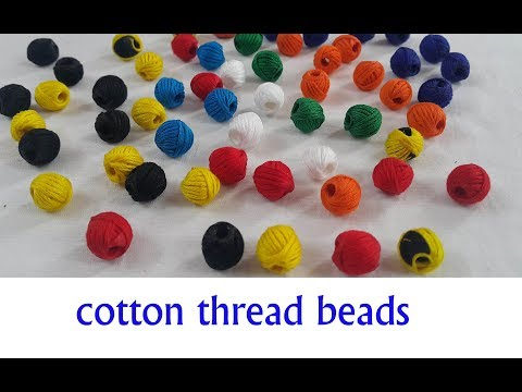 How to Make Cotton Thread Beads at Home//Perfect and easy Cotton Thread Beads for Necklace
