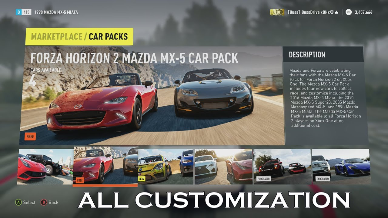 forza horizon 2 all customization for mazda mx 5 car pack youtube. Black Bedroom Furniture Sets. Home Design Ideas