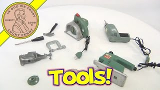 1969 Ideal Toys Vintage Miniature Tools - Drill Circular Saw Jig Saw And Table Vice Set