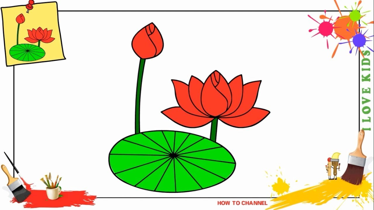 How to draw a lotus flower EASY step by step for kids, beginners ...