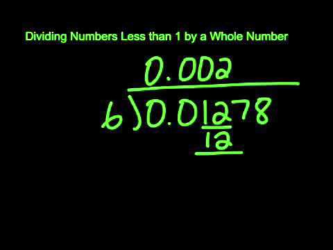 Dividing Numbers less than 1 by a Whole Number