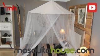 Gambar cover Mosquitera para cama doble King Bangla, fácil de montar y colocar.