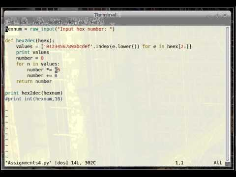Convert hexadecimal to decimal in python pt 2 - YouTube