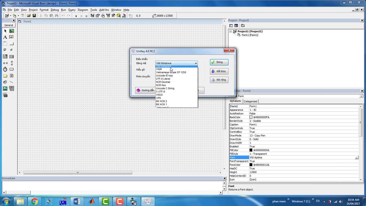Hướng dẫn gõ tiếng việt trên phần mềm Visual Basic 6 0