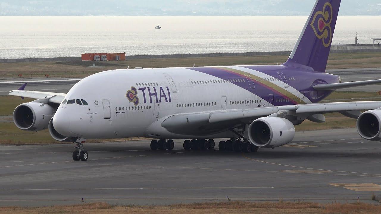 Thai Airways International Airbus A380 HS-TUD Takeoff from ...