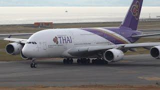 Thai Airways International Airbus A380 HS-TUD Takeoff from KIX 24L