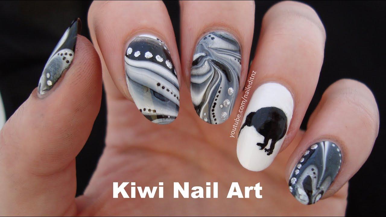 zealand nail art kiwi bird