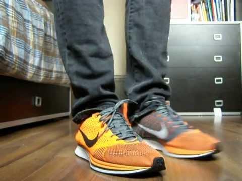 new concept 21b71 52673 Nike Flyknit Racer- Total Orange ON FEET
