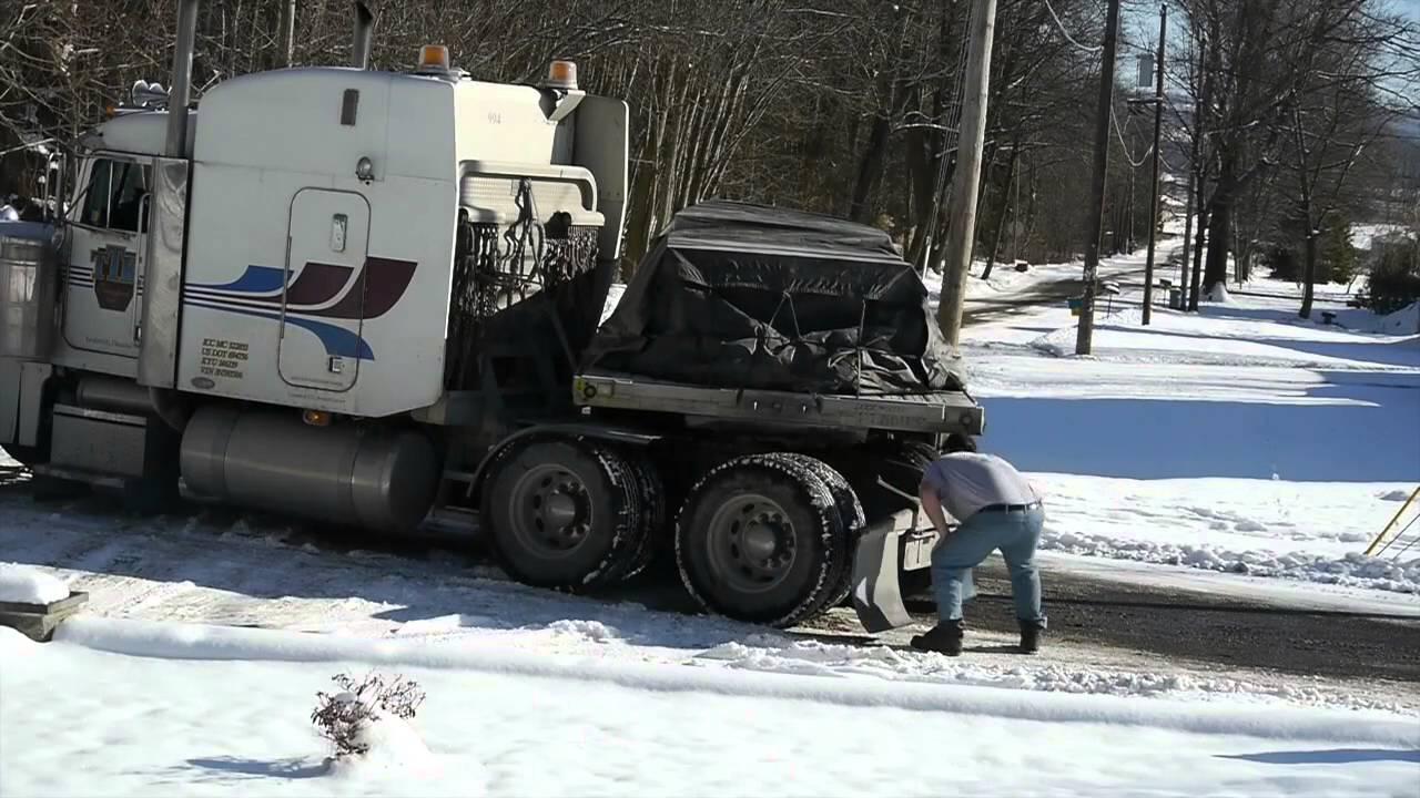 tractor trailer propane truck snow plow   youtube