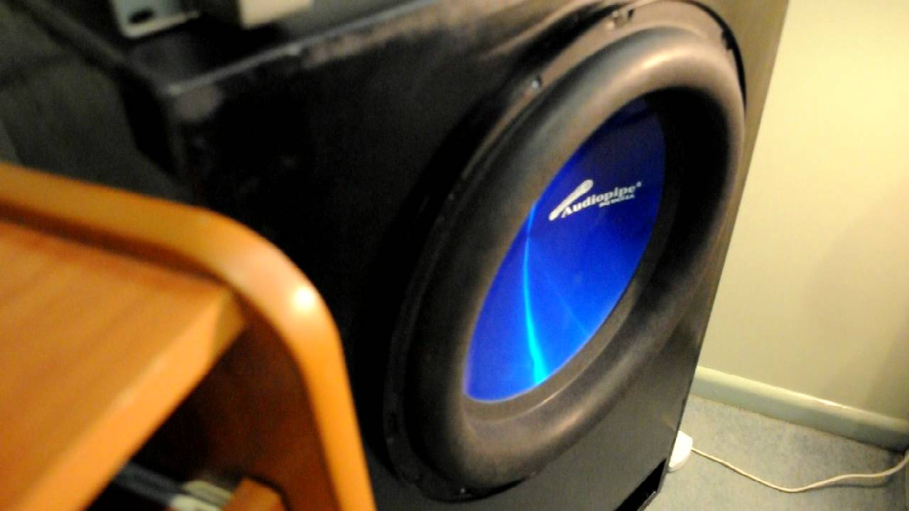 Audiopipe 15  1000w RMS subwoofer excursion in custom box - for my room! - YouTube & Audiopipe 15