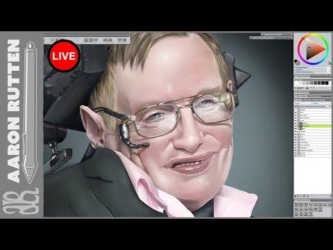 Live: WIP Portrait Of Stephen Hawking - Digital Art Live Stream (4/4/2018)