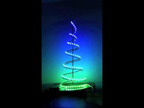 LED light strip on indoor spiral Christmas tree - YouTube