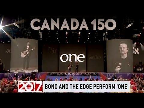 U2's Bono & The Edge Perform 'One' and 'Rain' on Canada's 150th Birthday - CBC - July 1, 2017