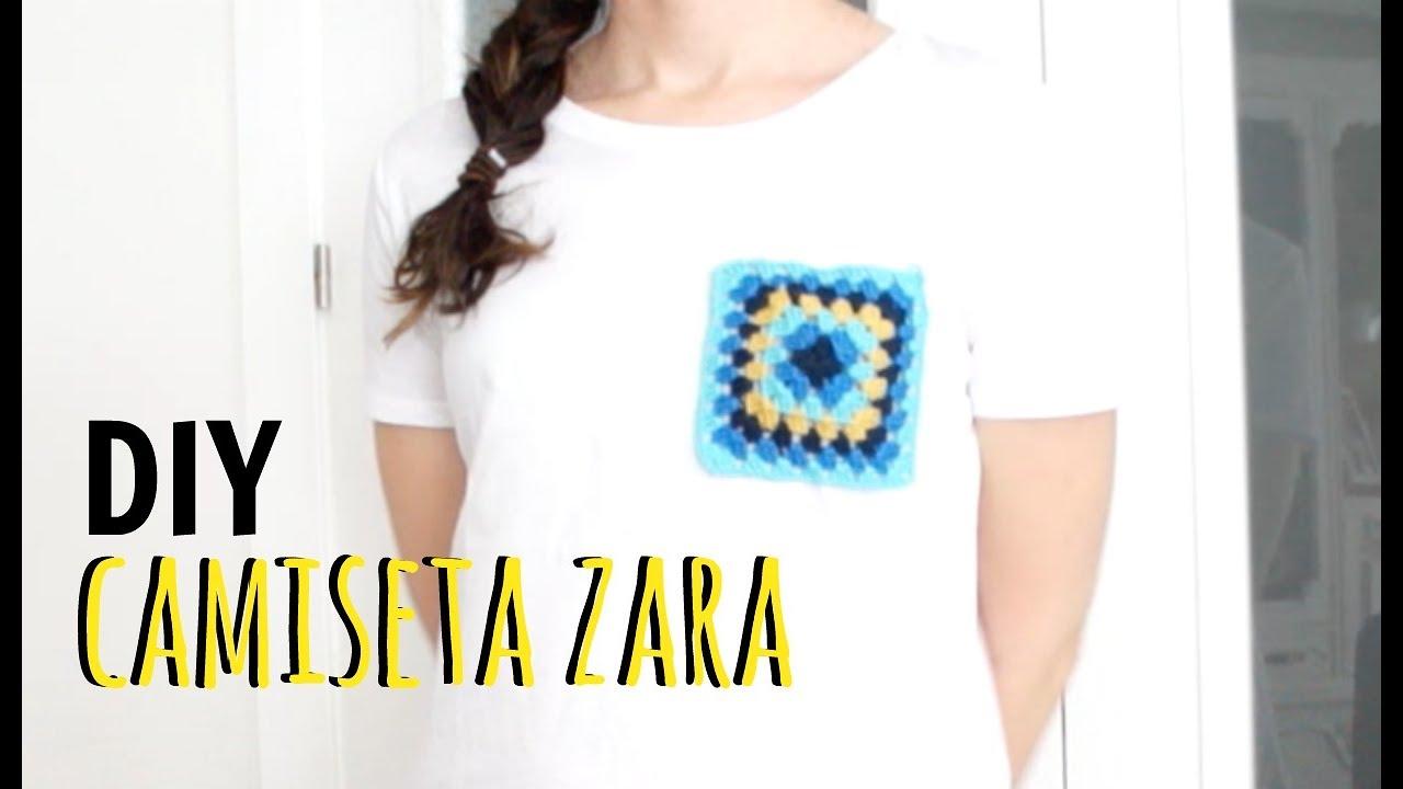 DIY camiseta bolsillo crochet zara - YouTube