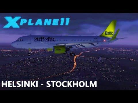 X-Plane 11 | HELSINKI (EFHK) to STOCKHOLM (ESSA) Air Baltic A320 - JarDesign