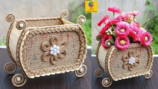 DIY Flower vase with Jute and Popsicle Sticks | Jute Flower Basket | Best Out Of Waste Jute Craft