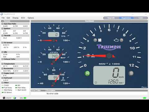 Triumph Sprint ST 12 minute reset (adaptations reset) TuneECU readout