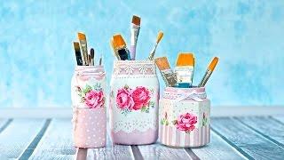 Decoupage jar tutorial for beginners   -----  DIY By Catherine :)