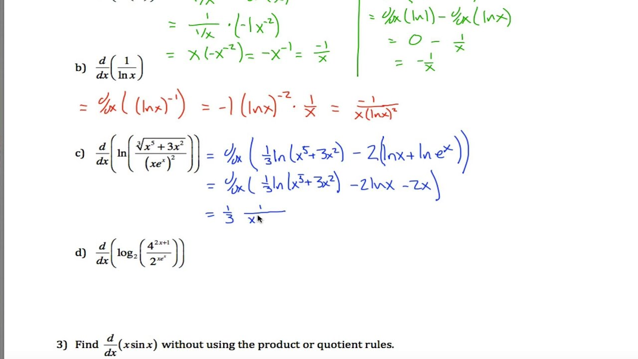 Logarithmic Differentiation Part 1 - YouTube