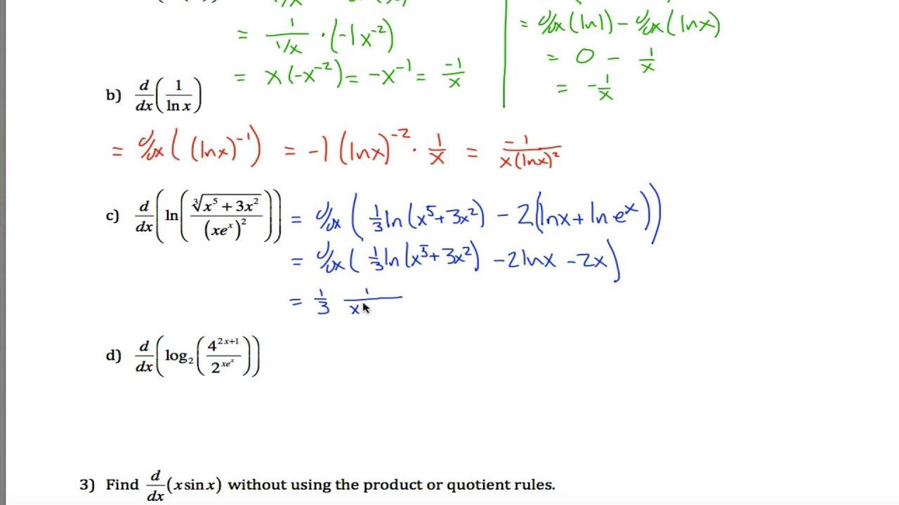 Logarithmic Differentiation Part 1