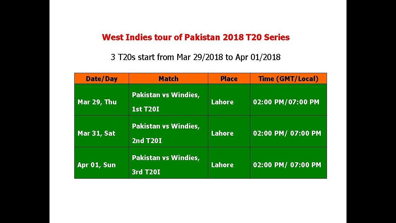 Wi Tour Of Pak  Schedule