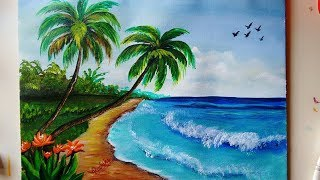 A Beautiful Beach Painting | Seascape Acrylic Painting for Beginners