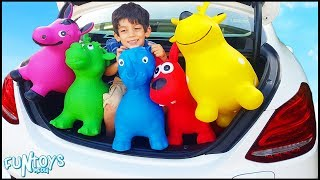 Playing with Inflatable Animals Toys