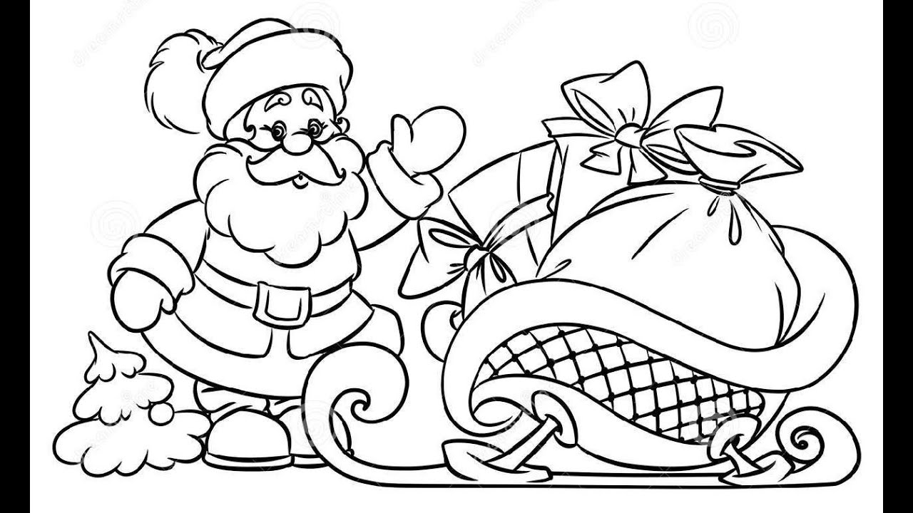 how to draw santa claus christmas gifts illustration youtube