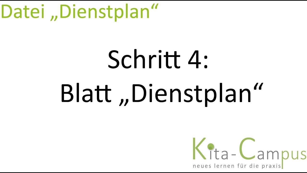 """Dienstplangestaltung mit Excel 4: Bearbeitung Blatt """"Dienstplan ..."""