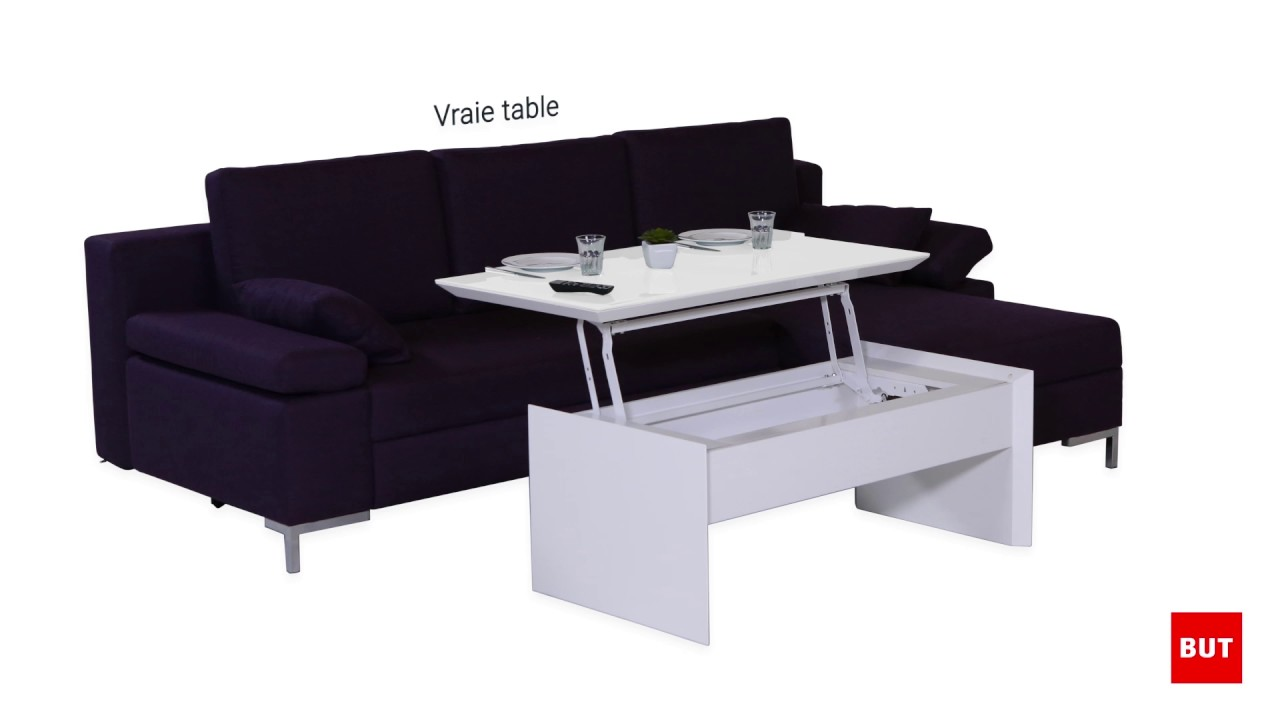 table basse lap top tommy 2 blanc taupe but youtube. Black Bedroom Furniture Sets. Home Design Ideas