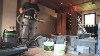 Aufbau eines Speckstein-Speicherofen