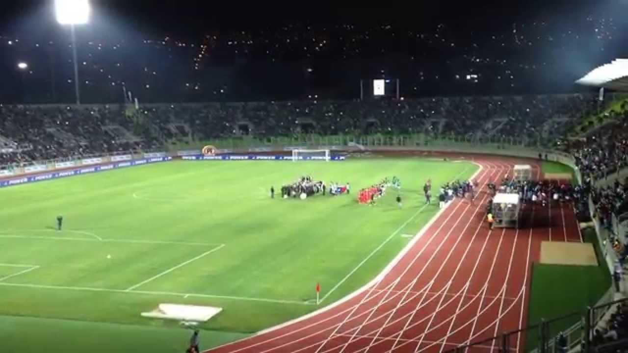 Santiago Wanderers a la cancha en el Estadio Elias Figueroa B
