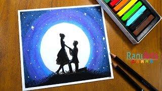 Cómo dibujar Paisaje a la luz de luna con Pastel Seco - How to draw Moonlight Scenery Chalk Pastel