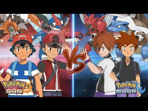 Pokemon Sun and Moon: Alola Ash Ketchum and Champion Vs Gary Oak and Professor Gary