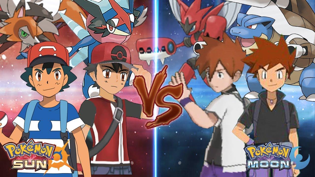 Pokemon Sun And Moon Alola Ash Ketchum And Champion Vs Gary Oak