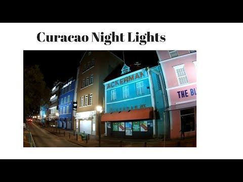 Curacao Island Punda Night Lights Dutch West Indies Caribbean