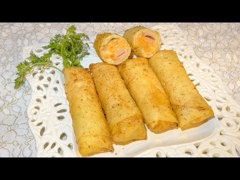 briouats-croustillantes-fromage-jambon-de-poulet---!!!!-بريوات-بالجبن-والدجاج-المدخن-من-ألذ-مايكون