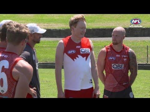 Talk show legend Conan O'Brien auditions for the Sydney Swans | 2019 | AFL