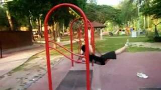 Crazy Kid Sends Himself Flying When Playing Swing Seat